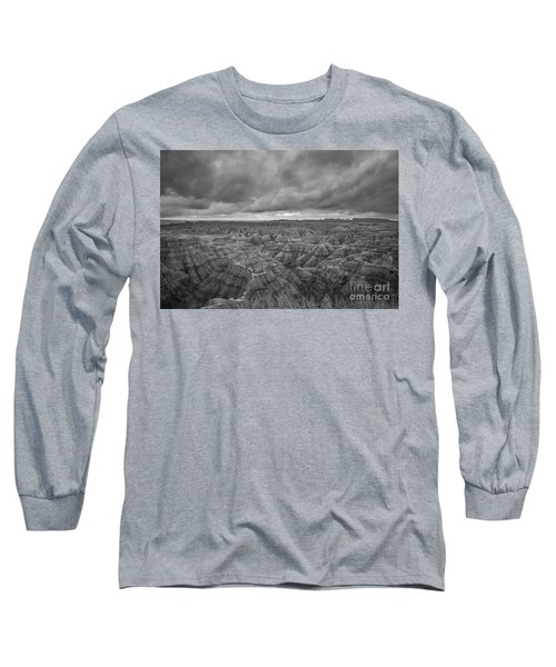 Overlooking The Badlands Bw Long Sleeve T-Shirt