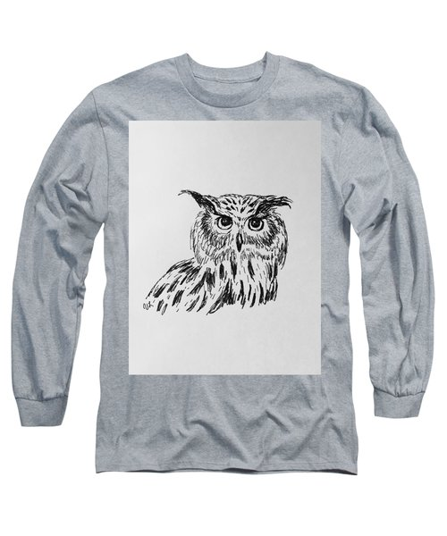 Owl Study 2 Long Sleeve T-Shirt by Victoria Lakes