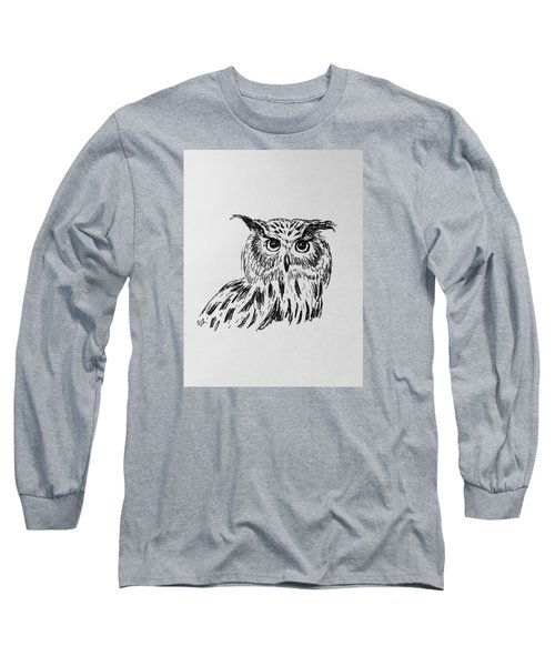 Long Sleeve T-Shirt featuring the drawing Owl Study 2 by Victoria Lakes