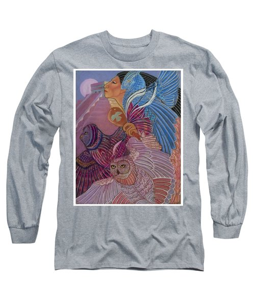 Owl Woman At Chichen Itza Long Sleeve T-Shirt
