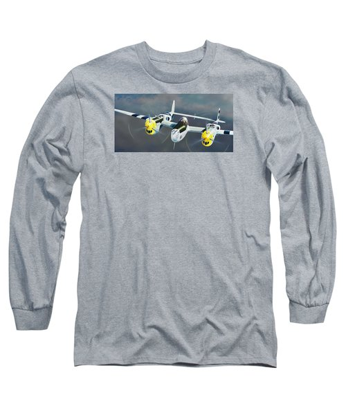 P-38 On The Prowl Long Sleeve T-Shirt by Douglas Castleman