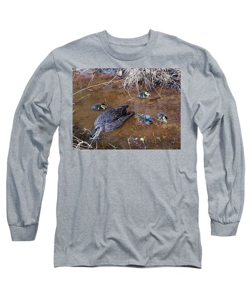 Long Sleeve T-Shirt featuring the photograph Pacific Black Duck Family by Miroslava Jurcik