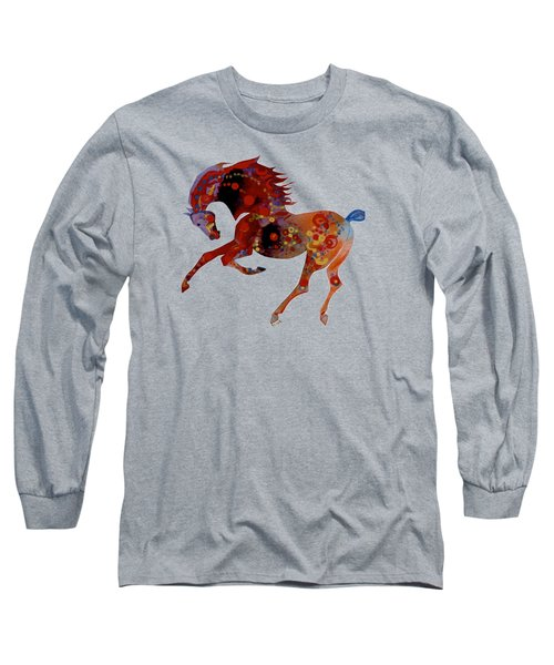 Painted Horse 3 Long Sleeve T-Shirt by Mary Armstrong