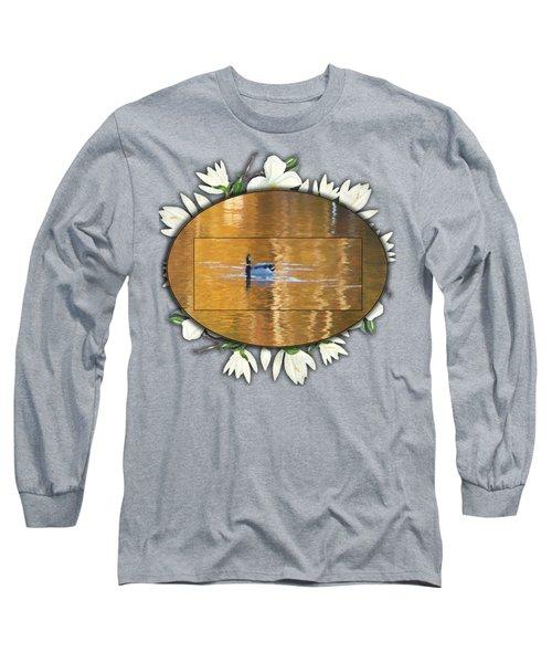Painted Mallard On Magnolia Pond Long Sleeve T-Shirt