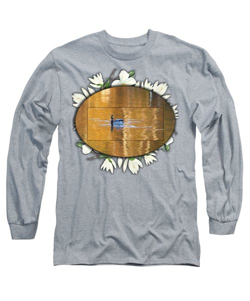 Painted Mallard On Magnolia Pond Long Sleeve T-Shirt