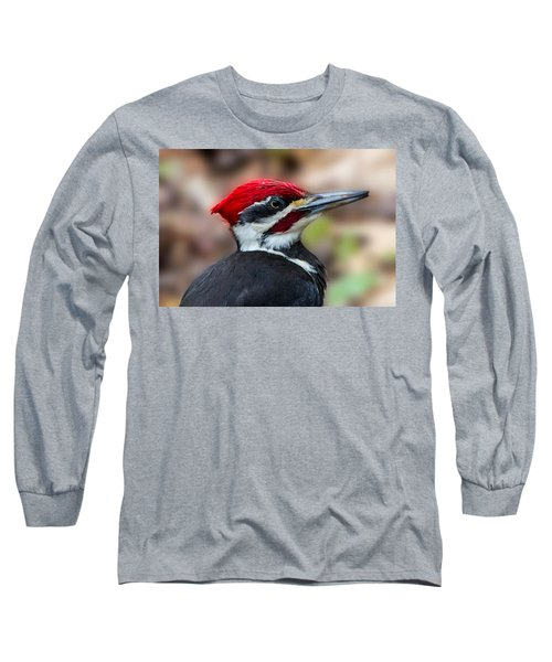Long Sleeve T-Shirt featuring the painting Painted Pileated Woodpecker by John Haldane