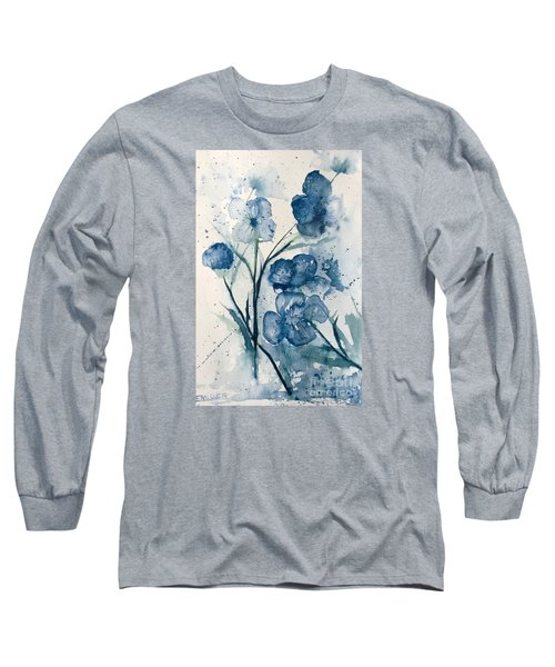 Painterly  Blues Long Sleeve T-Shirt