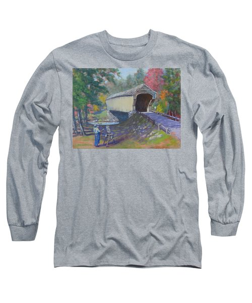 Painting Covered Bridge  Long Sleeve T-Shirt