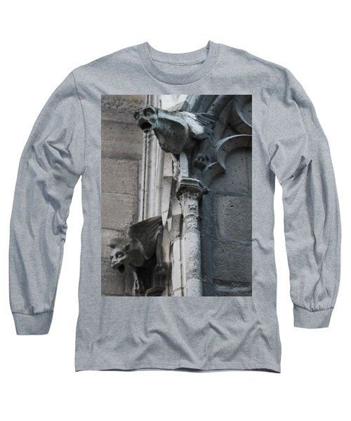 Long Sleeve T-Shirt featuring the photograph Pair Of Griffons Of Notre Dame by Christopher Kirby