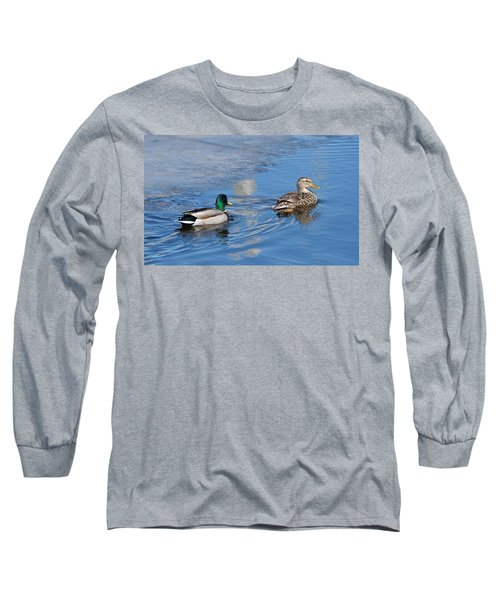 Long Sleeve T-Shirt featuring the photograph Pair Of Mallard Ducks Inthunder Bay by Michael Peychich