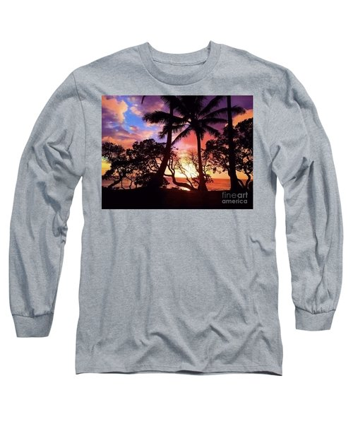 Palm Tree Silhouette Long Sleeve T-Shirt by Kristine Merc