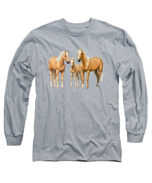 Palomino Horses In Winter Pasture Long Sleeve T-Shirt
