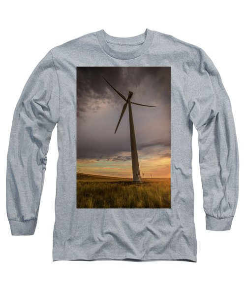 Long Sleeve T-Shirt featuring the photograph Palouse Windmill At Sunrise by Chris McKenna