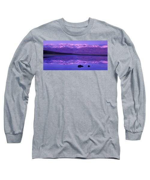 Panorama Badwater And The Panamint Range At Sunrise Death Valley Long Sleeve T-Shirt