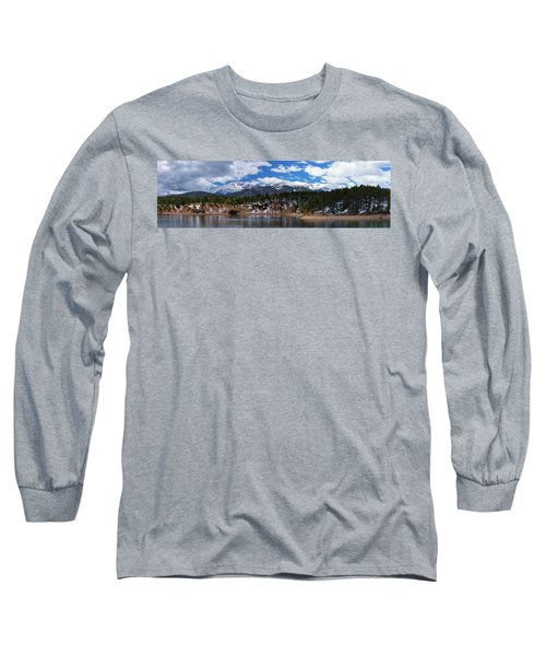 Panorama Of South Catamount Reservoir With Pike's Peak Covered I Long Sleeve T-Shirt