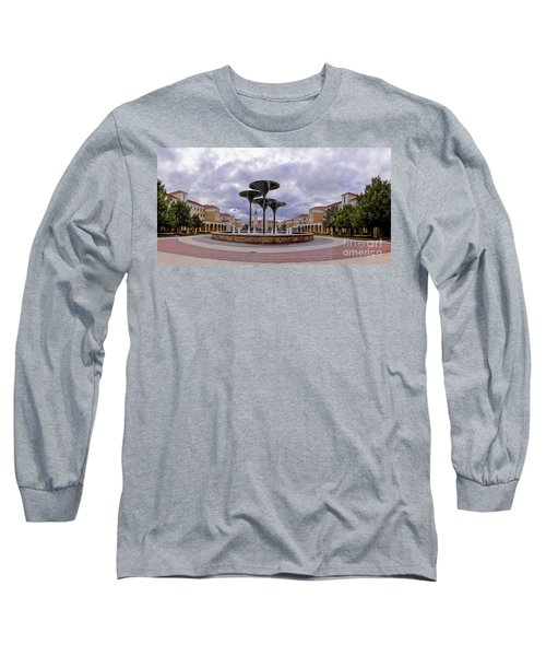 Panorama Of Texas Christian University Campus Commons And Frog Fountain - Fort Worth Texas Long Sleeve T-Shirt
