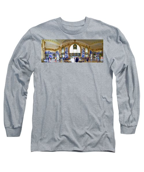 Panorama Of The Sao Bento Train Station In Oporto Portugal Long Sleeve T-Shirt