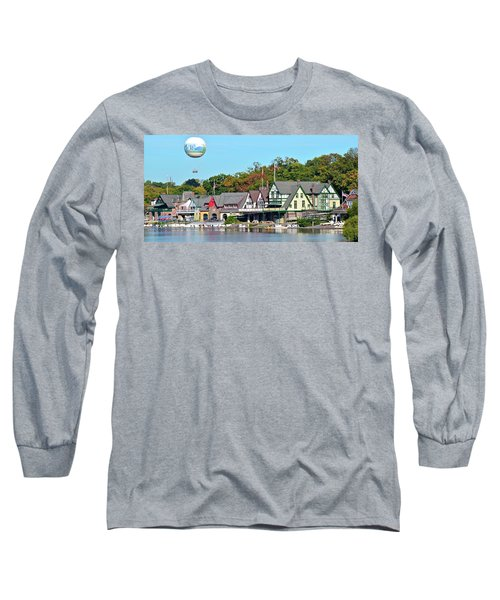 Panoramic Boathouse Row In Philly Long Sleeve T-Shirt
