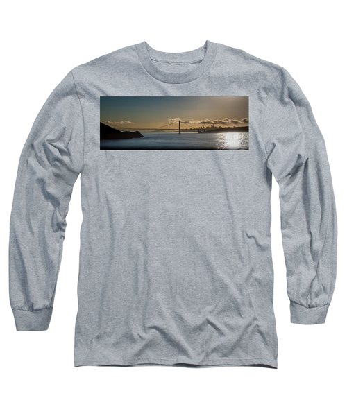 Panoramic View Of Downtown San Francisco Behind The Golden Gate  Long Sleeve T-Shirt