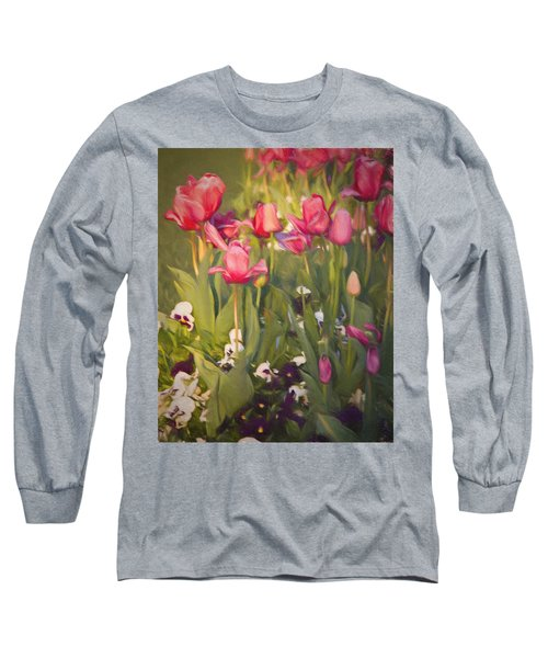 Long Sleeve T-Shirt featuring the photograph Pansies And Tulips by Lana Trussell