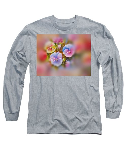 Pansies Long Sleeve T-Shirt by Patricia Schneider Mitchell