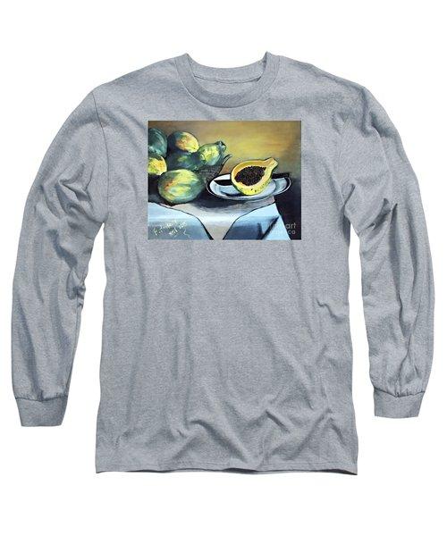 Papaya Still Life Long Sleeve T-Shirt by Francine Heykoop