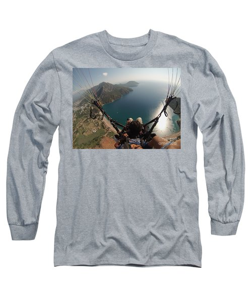 Paragliding Fly Above Laguna Seascape Long Sleeve T-Shirt