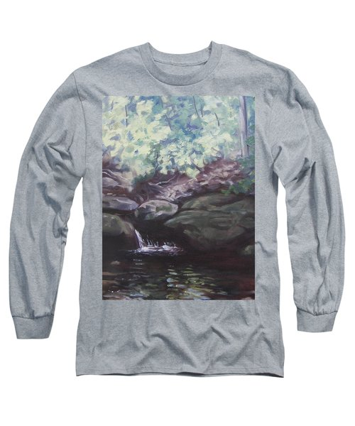 Long Sleeve T-Shirt featuring the painting Paris Mountain Waterfall by Robert Decker