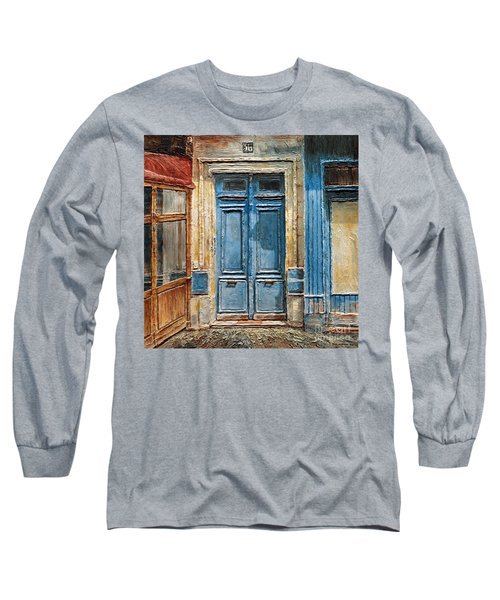 Long Sleeve T-Shirt featuring the painting Parisian Door No.36 by Joey Agbayani