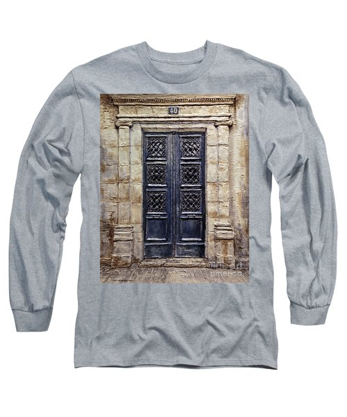 Long Sleeve T-Shirt featuring the painting Parisian Door No.40 by Joey Agbayani