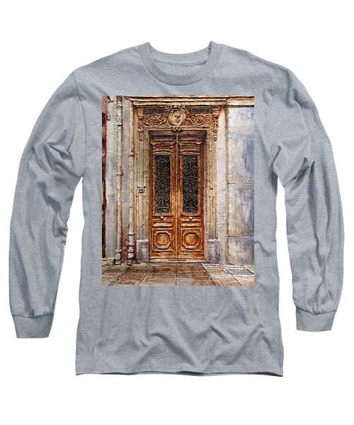 Long Sleeve T-Shirt featuring the painting Parisian Door No.7 by Joey Agbayani