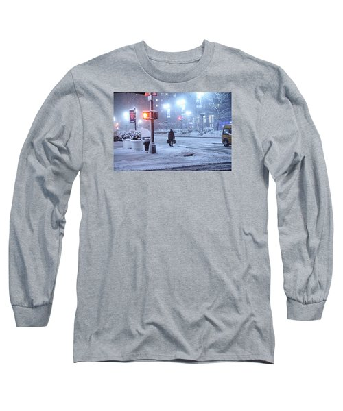 Park Avenue At E45th Near Grand Central In The Winter Storm Late Night New York On Feb 08 2013 Long Sleeve T-Shirt