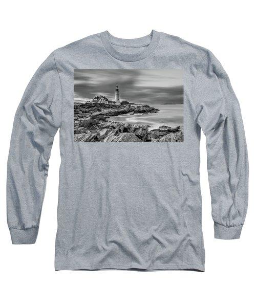 Passing Storm At Portland Head Light Long Sleeve T-Shirt
