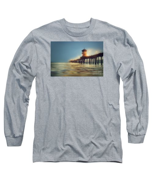 Pastel Evening At Huntington Beach Pier Long Sleeve T-Shirt