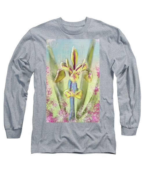 Long Sleeve T-Shirt featuring the digital art Pastel Iris by Lois Bryan