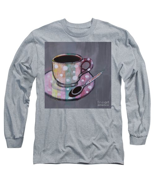 Long Sleeve T-Shirt featuring the painting Pastel Stripes Polka Dotted Coffee Cup by Robin Maria Pedrero