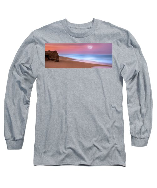 Pastel Sunset And Moonrise Over Hutchinson Island Beach, Florida. Long Sleeve T-Shirt