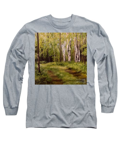 Path To The Birches Long Sleeve T-Shirt by Laurie Rohner