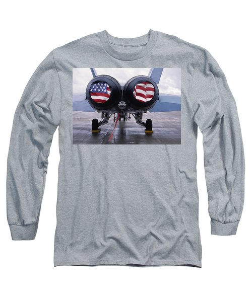 Patriotic American Flag Covers On The Rear Of An American F/a-18 Hornet Fighter Combat Jet Aircraft. Long Sleeve T-Shirt