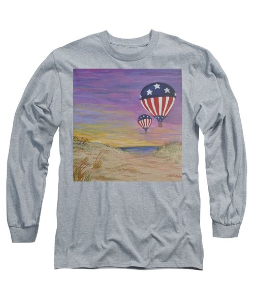 Long Sleeve T-Shirt featuring the painting Patriotic Balloons by Debbie Baker