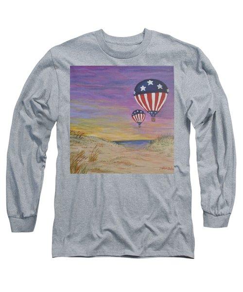 Patriotic Balloons Long Sleeve T-Shirt by Debbie Baker