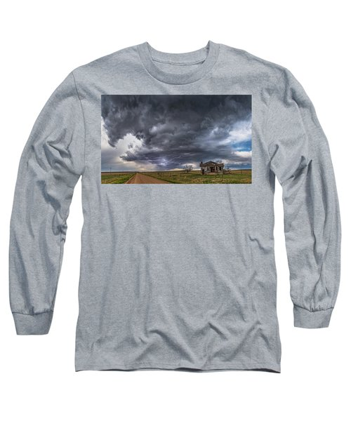 Long Sleeve T-Shirt featuring the photograph Pawnee School Storm by Darren White