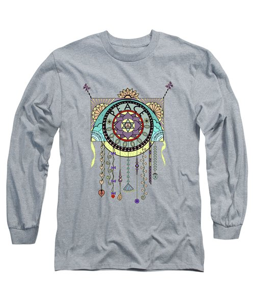Peace Kite Dangle Illustration Art Long Sleeve T-Shirt by Deborah Smith
