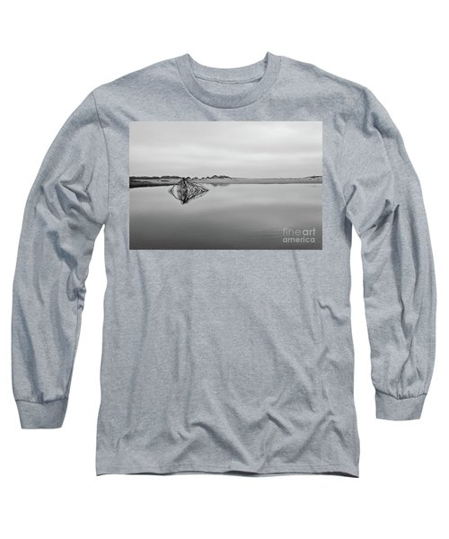 Long Sleeve T-Shirt featuring the photograph Peaceful Tidepool On The Outer Banks Bw by Dan Carmichael