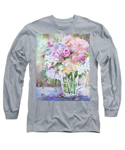 Peach And Pink Bouquet Long Sleeve T-Shirt by Jennifer Beaudet