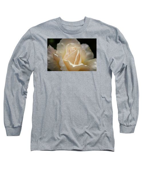 Peach Rose Long Sleeve T-Shirt by Mary Angelini
