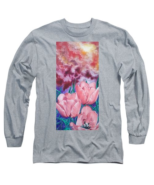 Long Sleeve T-Shirt featuring the painting Peachypink Tulips by Sigrid Tune