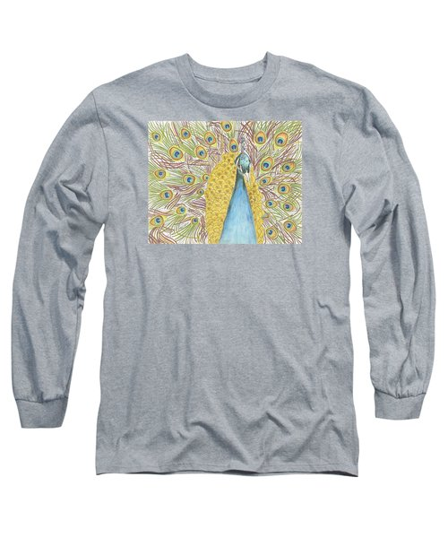 Long Sleeve T-Shirt featuring the drawing Peacock One by Arlene Crafton