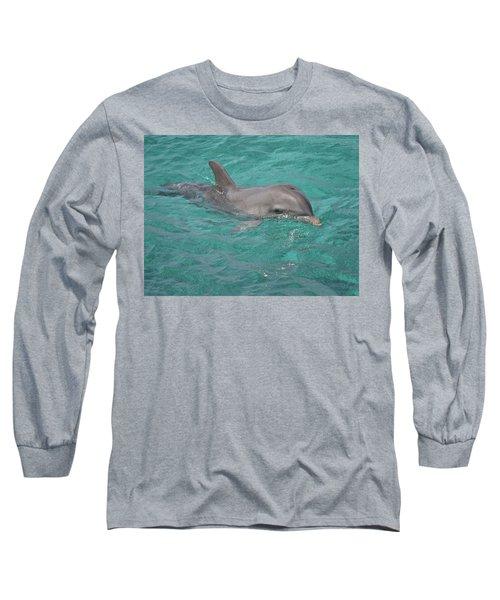Peeking Dolphin Long Sleeve T-Shirt