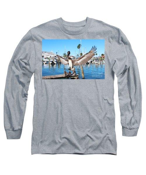 Pelican Flying In Long Sleeve T-Shirt